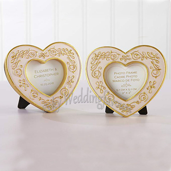 100PCS Gold Heart Mini Frame Place Card Holder Wedding Favors Party Table Decor Event Gift Bridal Shower Ideas