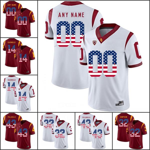 National flag Custom USC Trojans Stitched 43 Polamalu 32 Simpson 55 Seau 14 Darnold 2018 NCAA College Football Jersey