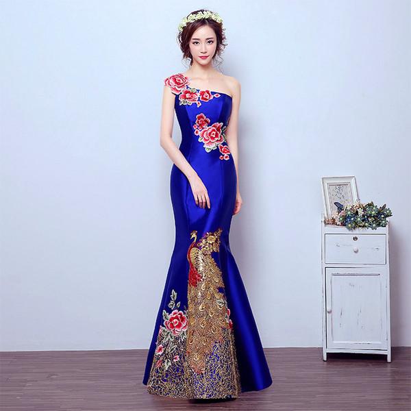 Azul Da Sereia Cauda estilo Asiático Manga Curta Moda Bordado Casamento Da Noiva Qipao Longo Cheongsam Chinês Tradicional Vestido Retro