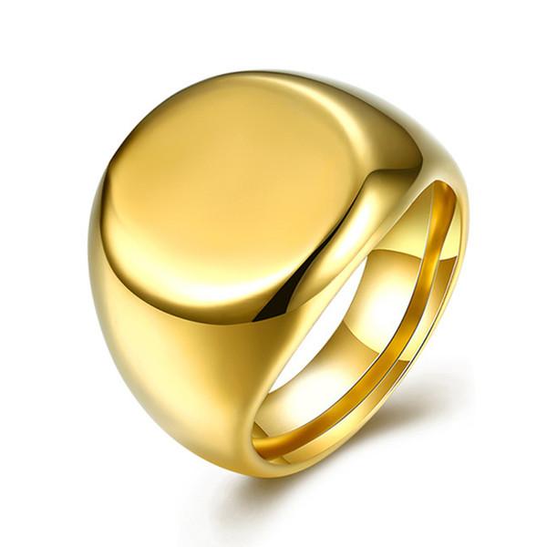 Titanium Stainless Steel Round Men Signet Rings Gold Color Punk Rock Hip Hop Wedding Band Engagement Biker Male Ring DCR016