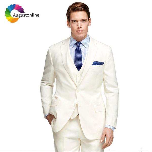 Augustonline Ivory Slim Fit Wedding Men Suits Groom Wear Tuxedos 3 Pieces (Jacket+Pants+Vest) Bridegroom Suits Blazer Prom Set