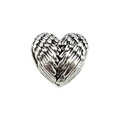 100pcs/lot alloy Heart Angel Wings Beads Spacer Bead Charms Antique Sliver Plated for Jewelry DIY Making 11x11.5mm Hole:4.5mm
