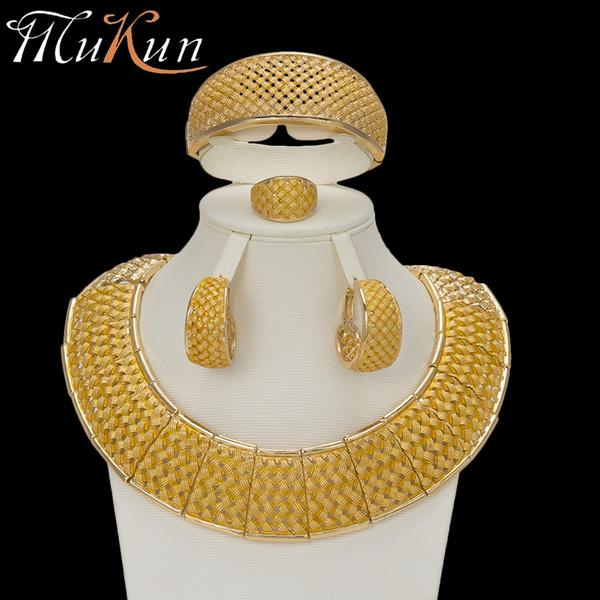 MuKun moda beads africanos conjuntos de jóias para as mulheres do casamento Do Vintage conjuntos de jóias de ouro Dubai luxo italianos designers de jóias