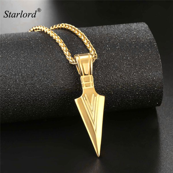ewelry for men Starlord Arrowhead Pendant Necklace Gold/Silver/Black Color Stainless Steel Warrior's Arrow Punk/Hiphop Jewelry For Men GP...