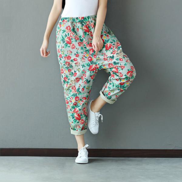 Pantaloni donna in denim allentato estate buco stampa vintage motivo floreale Jeans donna tasche casual femminili pantaloni elastici in vita Harem
