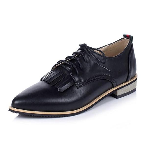 Güzel İngiliz Kadınlar Oxford Ayakkabı İlkbahar Sonbahar Brogues Sivri Burun Düz Ayakkabı Kadın Lace Up Katı Bayanlar Flats Büyük Bedenler 26-62