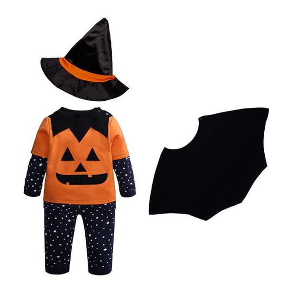 Хэллоуин детский костюм тыквенный комплект одежды 4шт звезды футболка топы + брюки + плащ + шляпа волшебника младенческий малыш дети мальчики девочки одежда