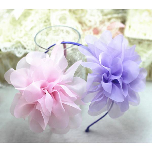 Fatti a mano ragazze fascia floreale in chiffon grande fiore hairband ragazza festa nuziale fascia eseguono fascia per capelli accessori per bambini