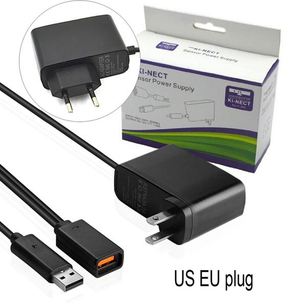 ЕС США Plug Черный KI-NECT Датчик AC Адаптер Питания USB Зарядное Зарядное Устройство Для Xbox 360 Датчик Kinect DHL FEDEX EMS БЕСПЛАТНАЯ ДОСТАВКА