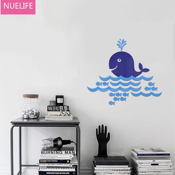 48x55cm мультфильм Синий кит 3D акриловые стены наклейки ванная комната спальня фон детская комната детский сад декоративный стикер стены