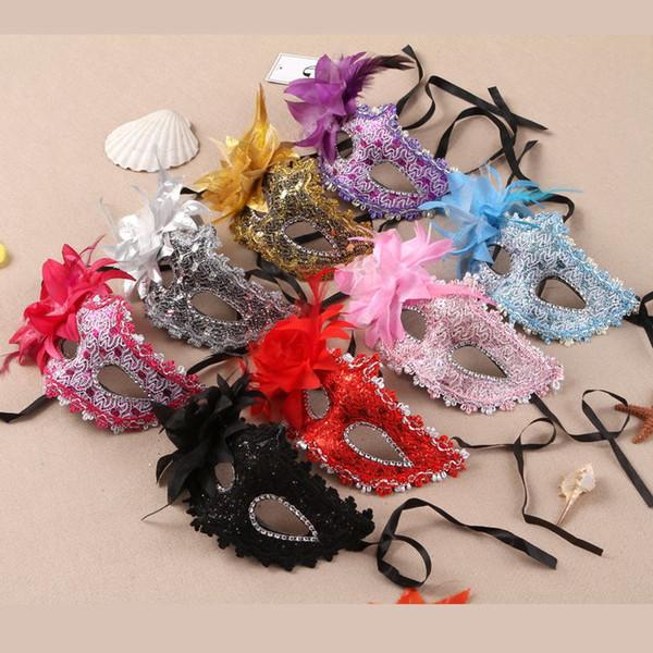 10PCS Disfraces de Mujeres Atractivas Máscara de Cosplay Máscara de Cardenal Máscara de juego de rol Máscaras de Diamante de Imitación Plumas y Flores Máscaras de Cuero para Mujer