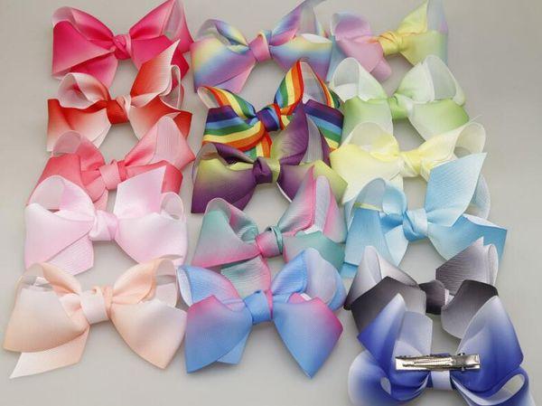 12cm grosgrain ribbon hair bows hair clips boutique rainbows bow girls hairbow For Teens Gift free shipping