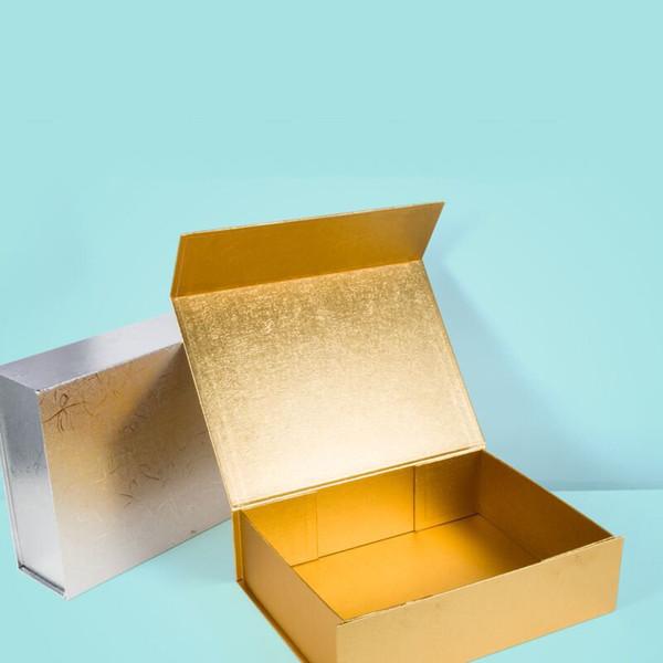 Comercio al por mayor 2 Unids / lote Llanura de cartón cajas rígidas plegables Cierre magnético 6 colores disponibles pelucas de empaquetado caja de regalo cosmética