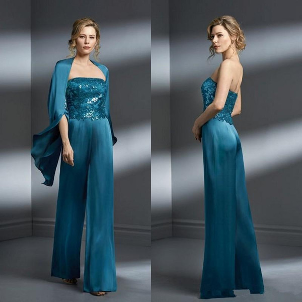 Teal blue Mother Of The Bride Pant Suits Chiffon Applique Strapless Plus Size Mother Of The Bride Dress Formal Gown For Mothers Wedding