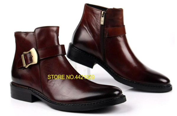 autumn winter martin luxury mens dress boots genuine leather high quality ankle boots men shoes for business wedding