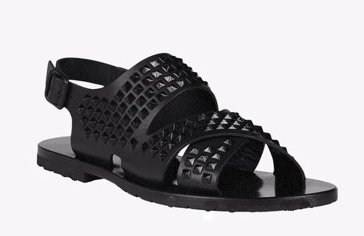 2018 Men Genuine Leather Shoes Sandals Open Toe Rivets Beach Shoes Man Studded Buckle Sandals Male Flats Summer Shoe