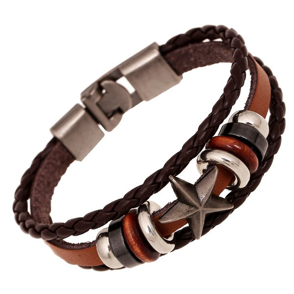 top popular vintage Bracelets Men Fashion Black Genuine Leather Braided SKULL Charm Bracelets Bangles Jewelry Male Multilayer Hand Rope Cheap Pulseira D 2019