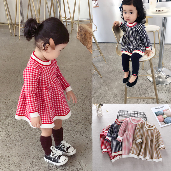 Baby Dress new Baby Autumn Dress Girl grid Princess for spring lovely 0-2 year-old child lattice knitted sweater clothes
