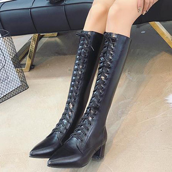 YOUYEDIAN Women Boots 2018 knee High Boots Lace Up Pointed Toe Women Winter Shoes Casual Black Leather Botas Mujer