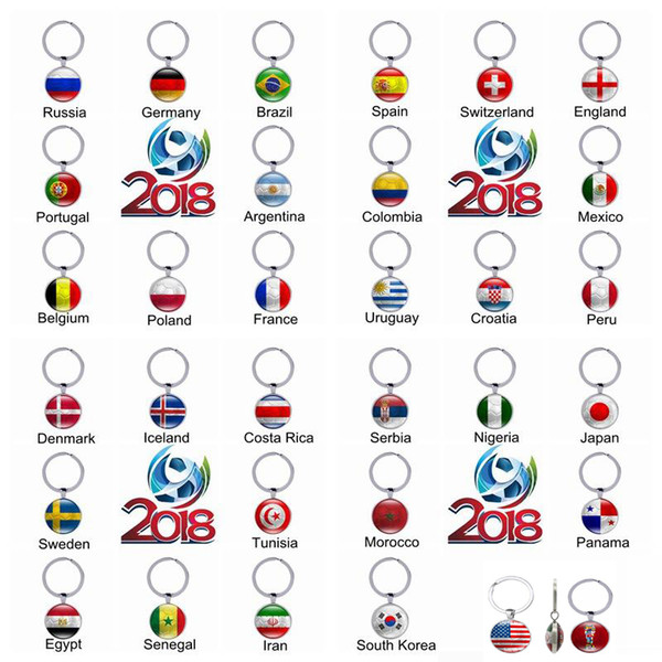 Football Keychain key rings with a national flags pattern pendant into charm 2018 world cup football fans gift ideas handmade