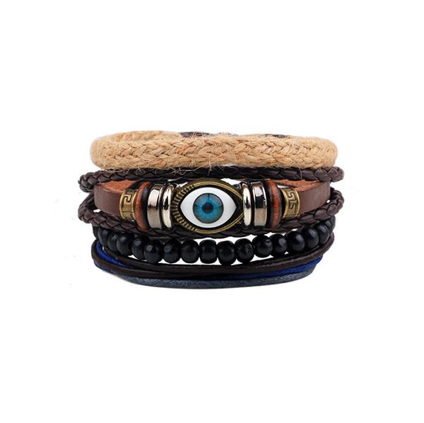 Fashion Retro Folk Style Original Eyeballs Of Multilayer Adjustable Beaded Bracelet Wristband Charms Hand Chain Boho Bracele Free DHL H96F
