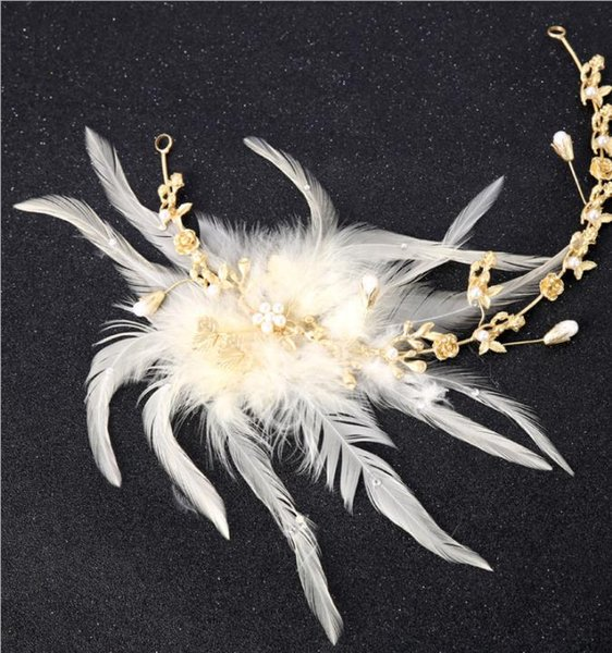 2018 cross border hot feather feather ornament, smart white feather goddess hair belt