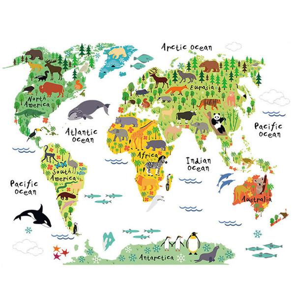 Colorido Animal Mapa Do Mundo de Vinil Adesivo de Parede Para Crianças Quarto Home Decor 3D Decalques criativas Pegatinas De Pared Sala Adesivos