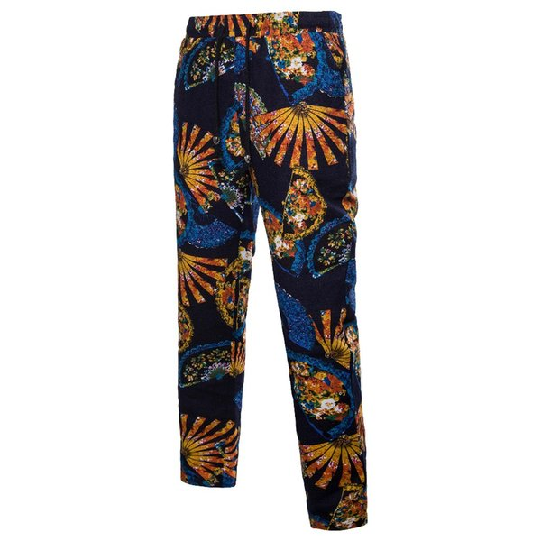 Brand Chinese Style Casual Linen Pants Men 2018 Summer Fashion Color Mosaic Thin Section Cotton Beach Cropped Trousers Plus 5XL
