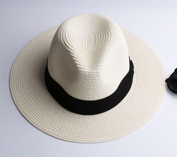 LNPBD Summer fashion white flat brim wide brim women's strawhat women's jazz fedoras hat sun-shading hat beach cap summer