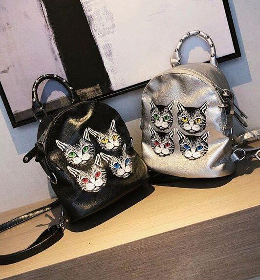 newest girl Rivet shoulder bag Korean cat print travel backpack women fashion women's bags portable multi-use handbags