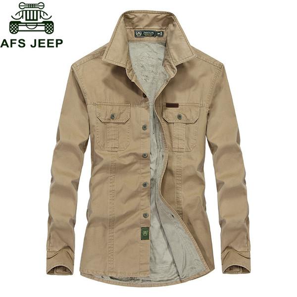 AFS JEEP 2018 Plus Size 5XL 6XL Autumn Winter Thick Fleece Shirt Men Causal Cotton Long Sleeve Mens Shirts Camisetas Hombre C18111601