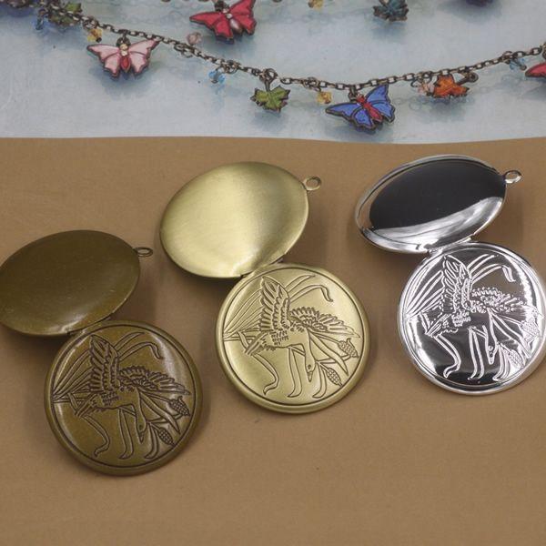 10pcs 32*6MM Silver/antique bronze/gold/ round swan photo locket pendant charms jewelry, diy metal fashion picture frame pendants wish box