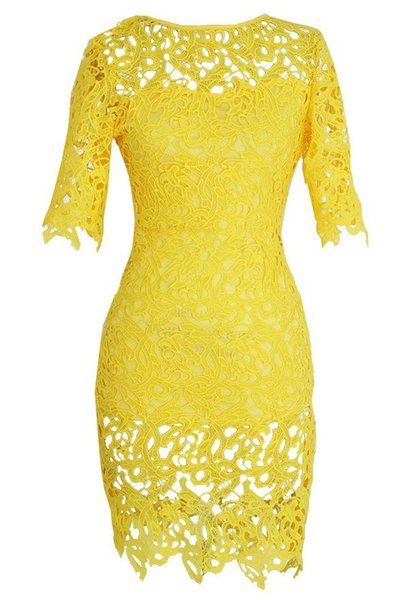 Plus Size Women Clothing 2016 Female Hollow Out Floral Lace Short Sleeves Formal Dress Pencil Dress Women Work Wear
