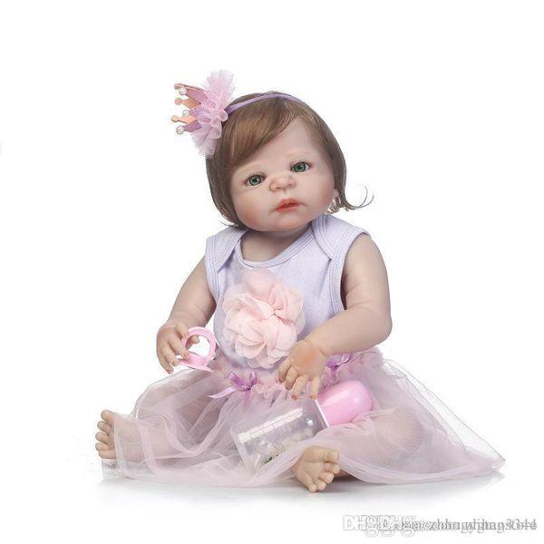 Wholesale- 56cm Full Silicone Baby Doll Fiber Hair Baby Lifelike Girl Doll Bebe Reborn Toy Kids Fashion Toy Children New Year Birthday Gift