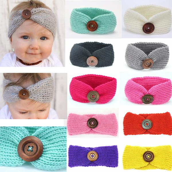 Kids Buckle Knitted Crochet Headband Baby Winter Sports Button Headwrap Hairband Turban Head Band Ear Warmer Beanie Cap AAA961