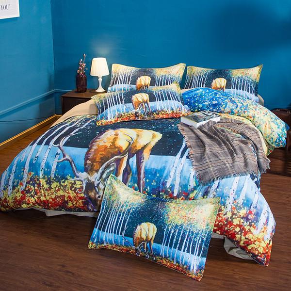 3 pezzi set di biancheria da letto in cotone copripiumini The Painting Deer stampa set di biancheria da letto Twin Queen King Size In magazzino