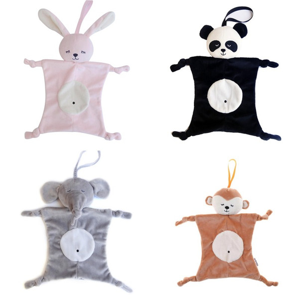 best selling Plush Baby Security Blanket toy Baby Shower Gift Stuffed Animal Toys Bunny Elephant Panda Soft Baby Soothing Towel Rattle Toy