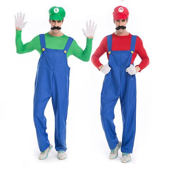 Cadılar bayramı Cosplay Kostüm Erkekler Tesisatçı Önlük Setleri Hip Hop Cosplay Tulum 1 * Şapka jartiyer üstleri sakal eldiven Rahat Uzun Kollu