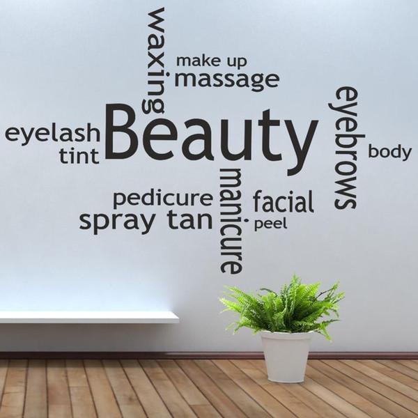 Collage di bellezza Salone di abbronzatura mit oli da massaggio compongono decorazione carta da parati degli autoadesivi della parete della stanza della decorazione delle decalcomanie di arte del vinile