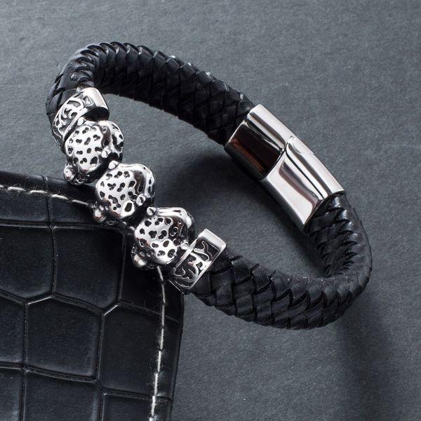 Punk Men Braided Leather Bracelet Fashion Jewelry Stainless Steel Magnetic Buckle Leopard Shape Bracelets Male Wrist Band 791