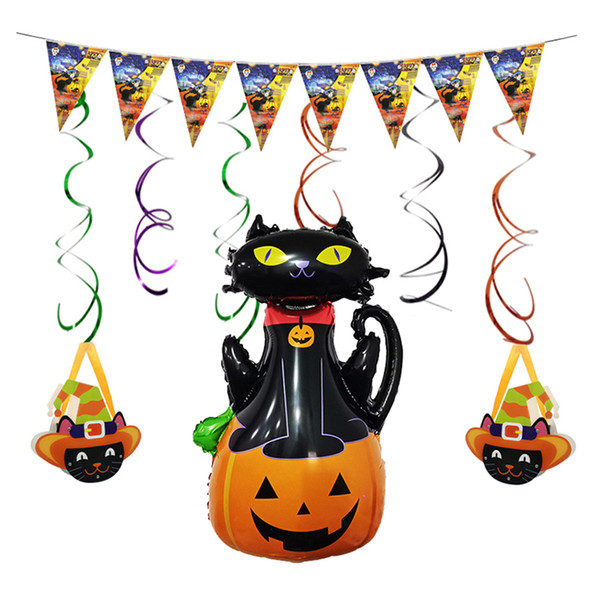 New wholesale black cat inflating foil balloon banner cute suger box for halloween party decoration