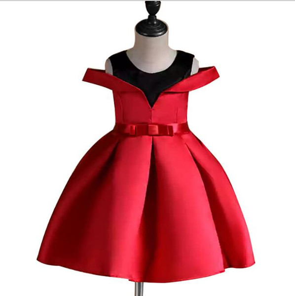 Cheap Off Shoulder Dress for Kids Little Girls European and American Tutu Skirt Dress Children Party Wear Red Blue