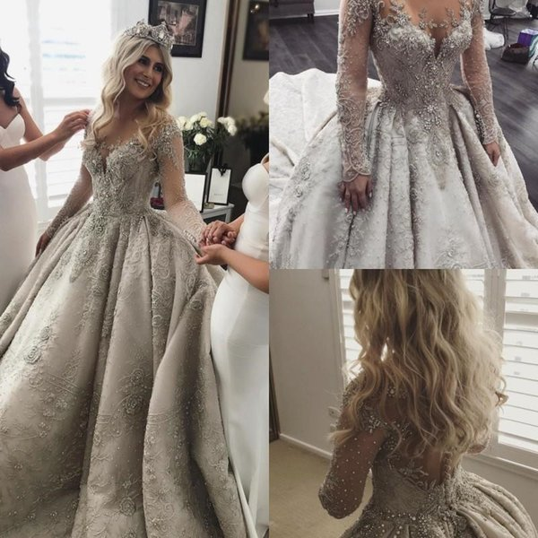 Long Sleeves Lace Ball Gown Wedding Dresses Rhinestone Jewel Neck Vintage Wedding Dress Full Beads Applique Ball Gown Bridal Gowns
