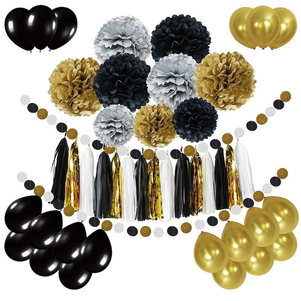 Black Gold Balloon Paper Flower Ball Diy Flag Banner Color Round Piece Birthday Party Decoration Supplies 36 27dm cc