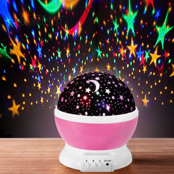 Led starry sky fantasy colorful rotating romantic starlight projection lamp Christmas gift new strange creative night light