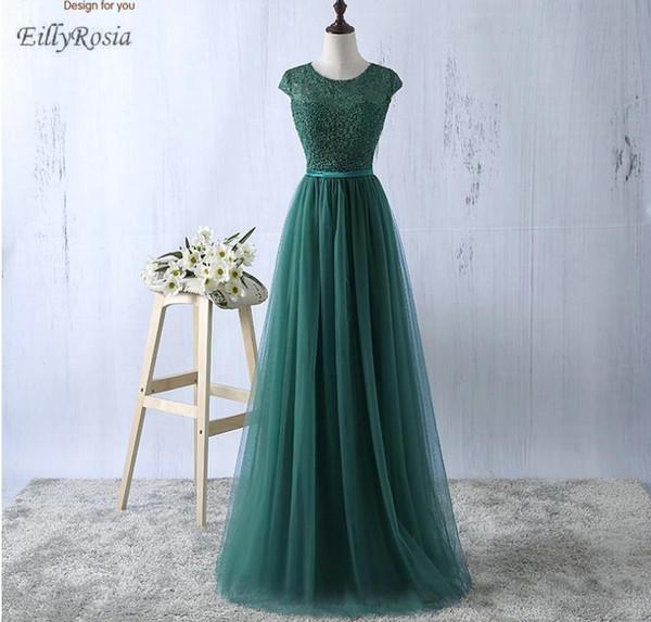 2018 vert mère de la mariée robes une ligne de plancher longueur dentelle tops formelle longue robe pour fête de mariage pour femme robe de soire