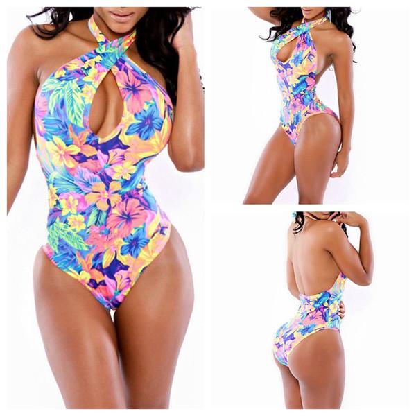 Europa e Stati Uniti sexy tute bikini senza schienale alto bikini elastico floreale Costumi da bagno Nightclub nuovo trasversale-denim denim tuta brie