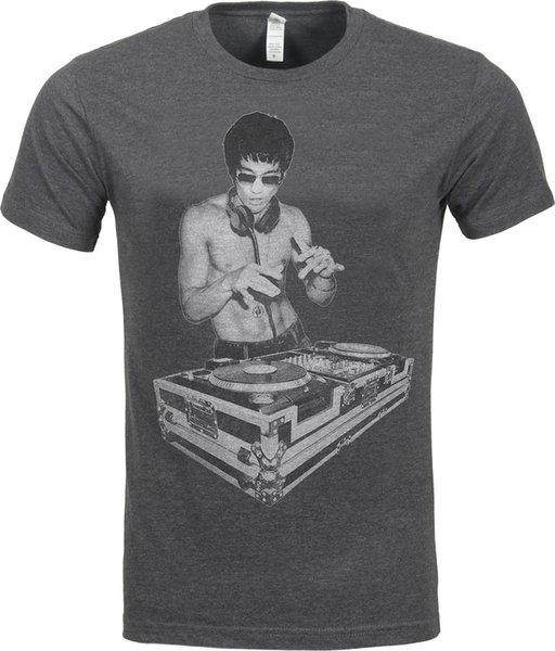 DJ Bruce Lee Worn by Tony Stark Avengers Movie Mens Charcoal T shirt Cool Casual pride t shirt men Unisex New Fashion tshirt