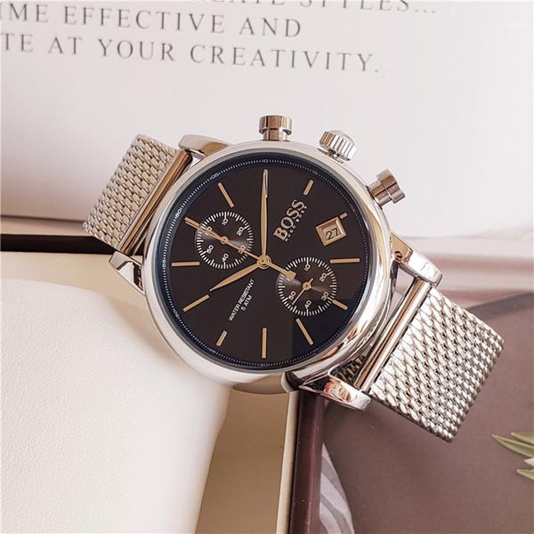 Alle Zeiger arbeiten AAA-Qualität 40mm Stahl-Maschenband-Uhr-Männer Luxusuhren klassische Uhr Herrenuhren Relogio Markenuhr