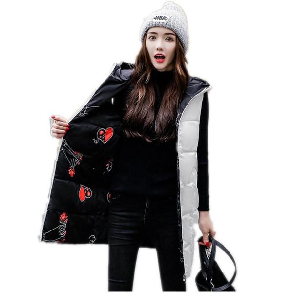 Herbst Winter Medium-Long Frauen Weste 2018 Fashion Print Beide zu Tragen Baumwolle Weibliche Weste Oberbekleidung Warme Lose Weste Q624
